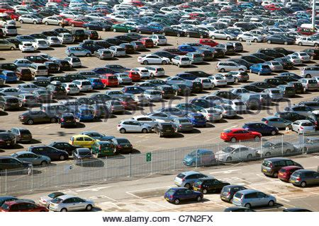 car park at the port of southton uk gb stock