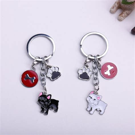diy charm keychain new diy bulldog key chain dogs key ring pom jewelry bag charm keychain