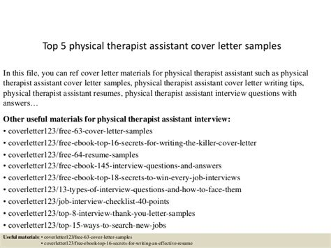 Physical Therapist Assistant Cover Letter by Top 5 Physical Therapist Assistant Cover Letter Sles