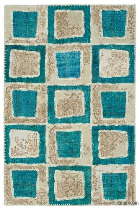Turquoise Patchwork Rug - k0022014 turquoise beige dyed turkish patchwork rug