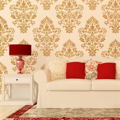 stencils for home decor damask wall stencil pattern ludovica for diy home decor