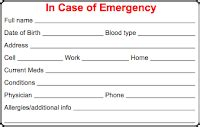 Emergency Contact Information Card Template by Cycling Skills In Of Emergency Card
