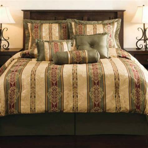 gold king size comforter green burgundy red gold geometric striped 7 piece