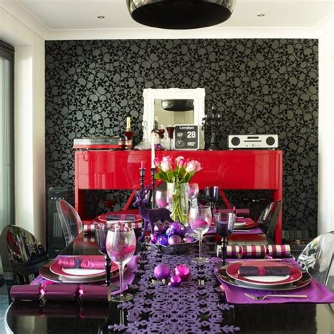 Bauble Table Decoration by And Purple Dining Room With Bauble Table