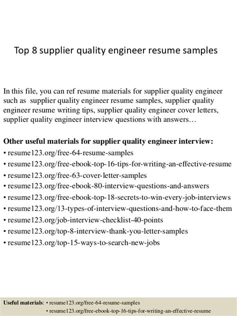 Supplier Quality Assurance Engineer Resume Sle Top 8 Supplier Quality Engineer Resume Sles