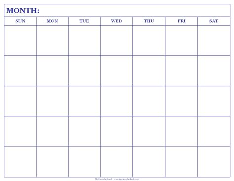 blank calendar template for blank calendar printable my calendar land