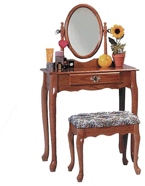 Oak Makeup Vanity Table Style Vanity Set Bathroom Makeup Table Stool Swivel Mirror Warm Oak Traditional