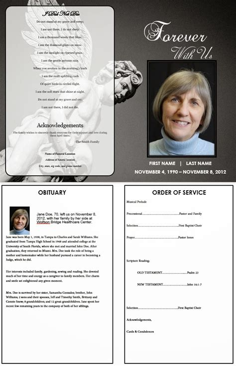 memorial order of service template the funeral memorial program may 2013