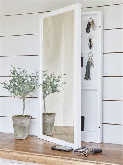 mirrored key cabinet key hooks hallway mirror key storage