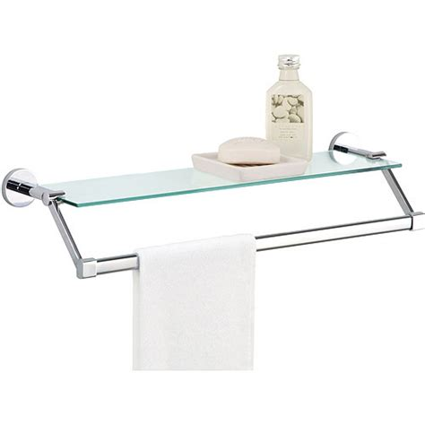 bathroom glass shelves with towel bar glass shelf with chrome towel bar walmart
