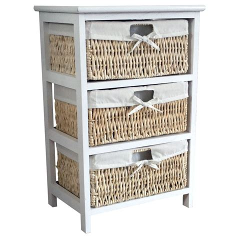 maize storage unit 2 3 4 basket drawer white wood