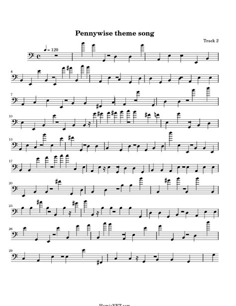 theme song a team pennywise theme song sheet music pennywise theme song