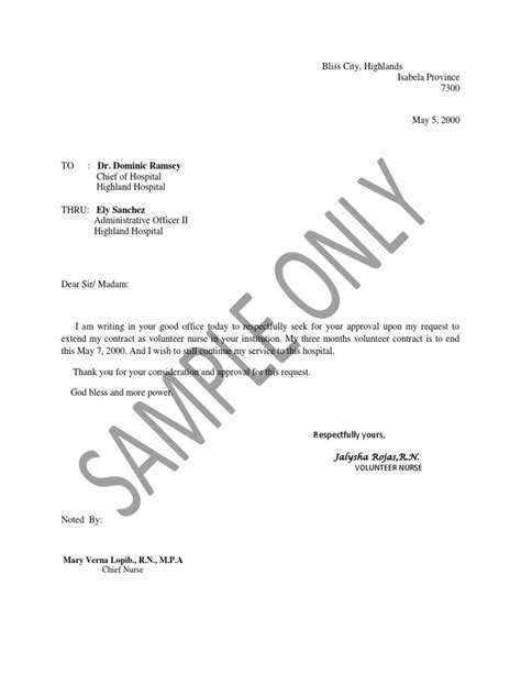 Employment Extension Letter contract extension letter template letter template 2017