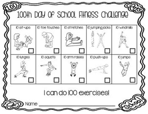 hundred day challenge 100th day of school fitness challenges and 100th day on