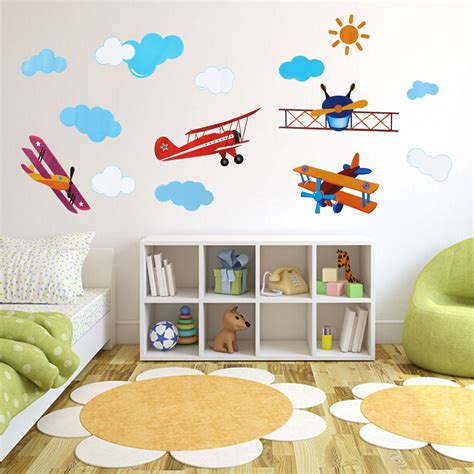 kids room wall decor four air planes multicolor wall sticker home vinyl decal kids room diy art decor ebay