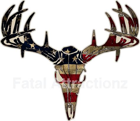 distressed american flag deer skull s4 vinyl sticker decal