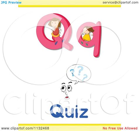 5 Letter Words Quiz of a letter q word and quiz royalty free vector