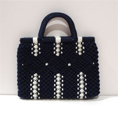 Macrame Thread Bags - macrame bag vintage blue knotted purse macrame top