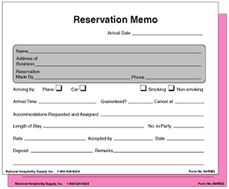 Reservation Letter Parts Hotel Forms 5 1 2x 4 1 4 2 Part Reservation Memo 500 Pk