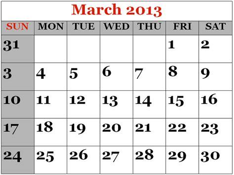March 2013 Calendar Image Gallery March Calendar 2013