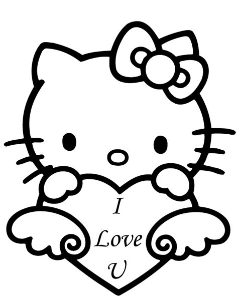 hello kitty coloring pages for valentines day hello kitty valentine i love you coloring page h m