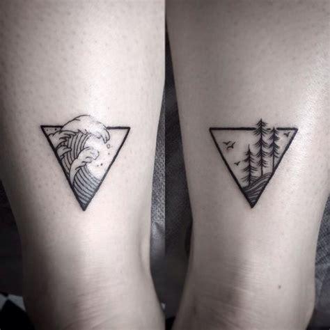 geometric tattoo ocean geometric tattoo waves trees treeline ankletattoo
