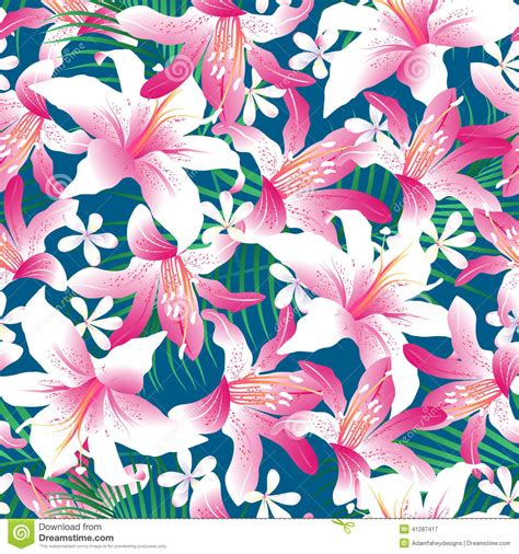 hawaiian floral pattern tropical hibiscus floral 3 seamless pattern stock vector