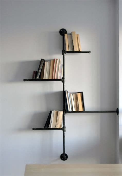 Home Accessories Astonishing Black Pipe Wall Mount Bookshelves On The Wall