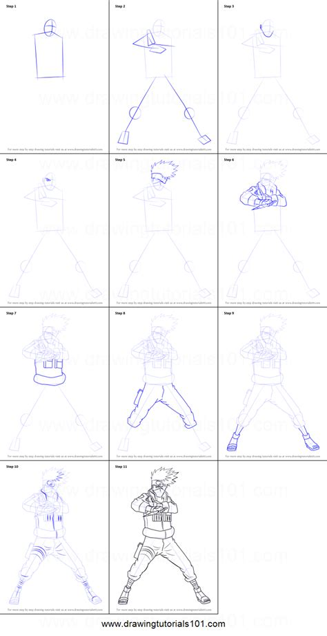 tutorial naruto drawing how to draw kakashi hatake from naruto printable step by