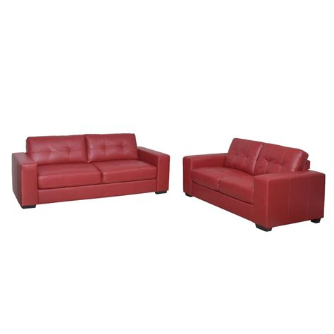 2 piece leather sofa set corliving club 2 piece tufted red bonded leather sofa set