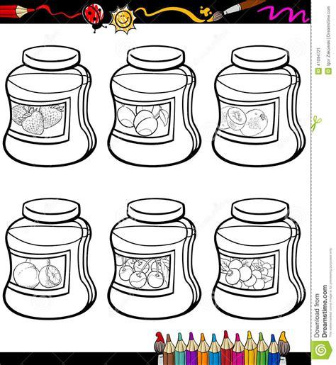 coloring book illustrator jams in jars set coloring book stock vector