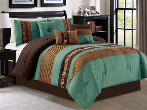 teal green comforter sets 7 p modern chic rectangle pleated embroidery comforter set