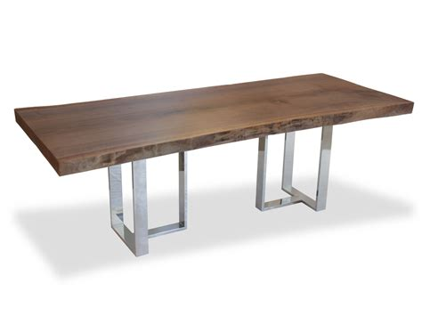 Contemporary Wooden Dining Table Single Slab Walnut Dining Table Base In Polished Aluminum Contemporary Industrial Organic