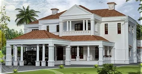5900 sq ft Colonial style villa exterior elevation
