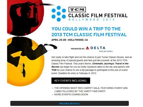 Delta Sweepstakes - tcm delta vacations film festival sweepstakes