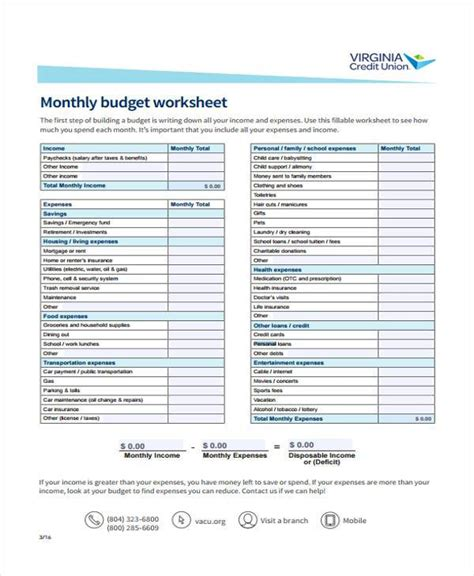 personal monthly budget form budget form templates