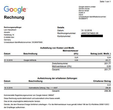 Rechnungskorrektur Umsatzsteuer Muster umsatzsteuer bei adwords und advoad