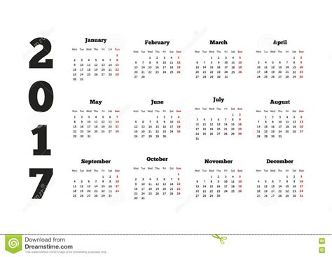 Calendar 2018 Starting Monday Calendar On 2017 Year With Week Starting From Monday A4