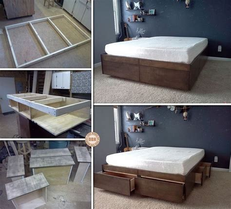 bed frame plans  drawers woodworking projects