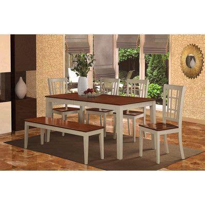 august grove pillar modern  piece dining set finish