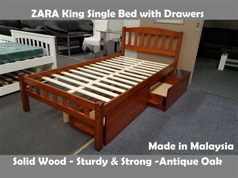 King Single Bed With Drawers by Furniture Place Zara King Single Bed In Antique Oak With