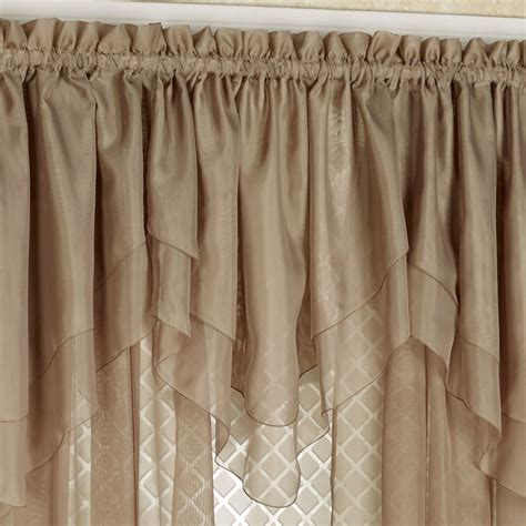 double window treatments emelia sheer voile double ascot valance window treatment
