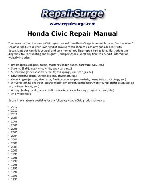 auto manual repair 2012 honda civic auto manual honda civic repair manual 1990 2012
