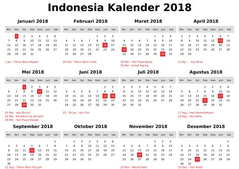 Kalender 2018 Indonesia Template Holidays Of Indonesia 2018 Calendar Printable Calendar
