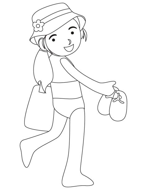 coloring page bathing suit girl wearing swimsuit coloring pages download free girl