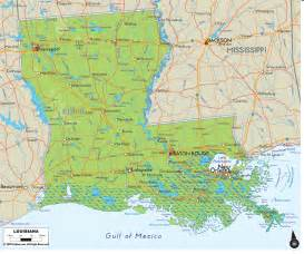 louisiana and map physical map of louisiana ezilon maps