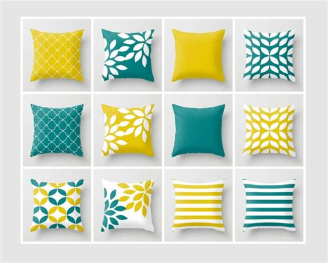 Teal And Yellow Throw Pillows by Throw Pillow Covers Mustard Yellow Teal White Accent Pillow