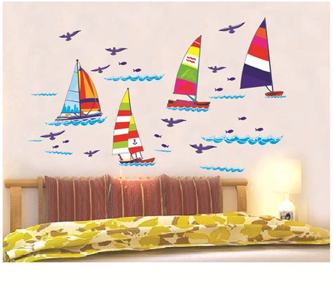 removable wall stickers for kids bedrooms home decor decals poster color sailboat house sticker kids