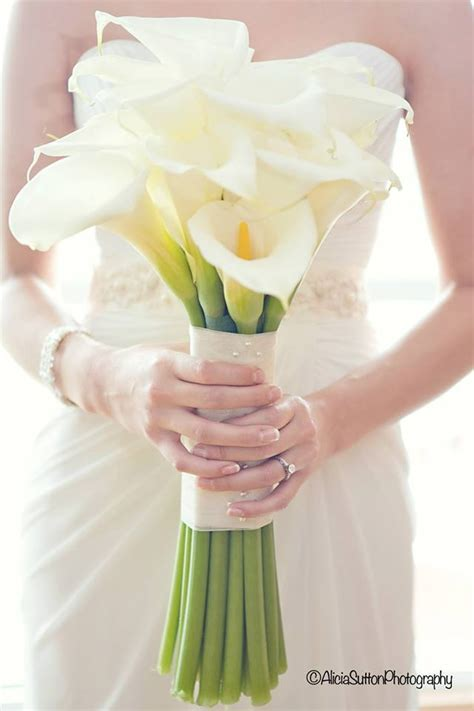 Handbouquet Goldwhite bridal bouquet of 20 large open cut calla lilies with white satin ribbon with an