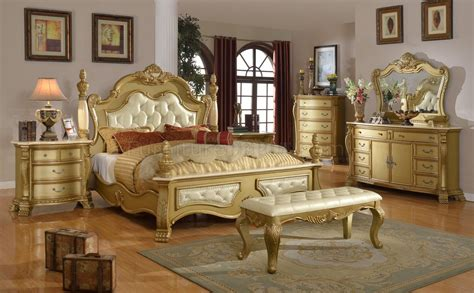 lavish bedroom  gold tone woptional case goods